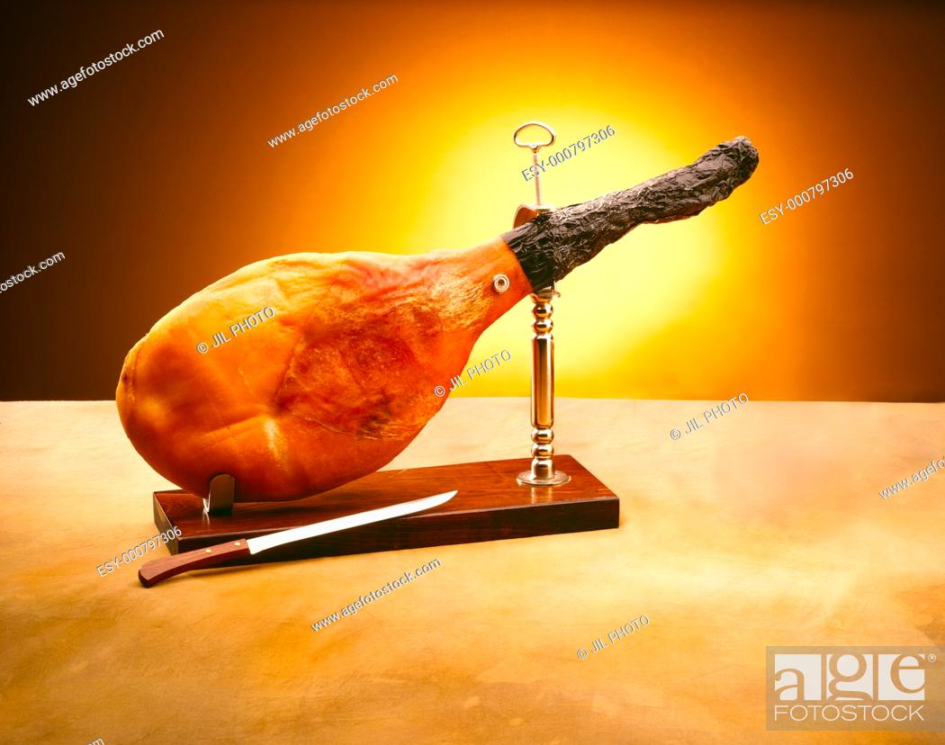 Stock Photo: Ham and pork knife.