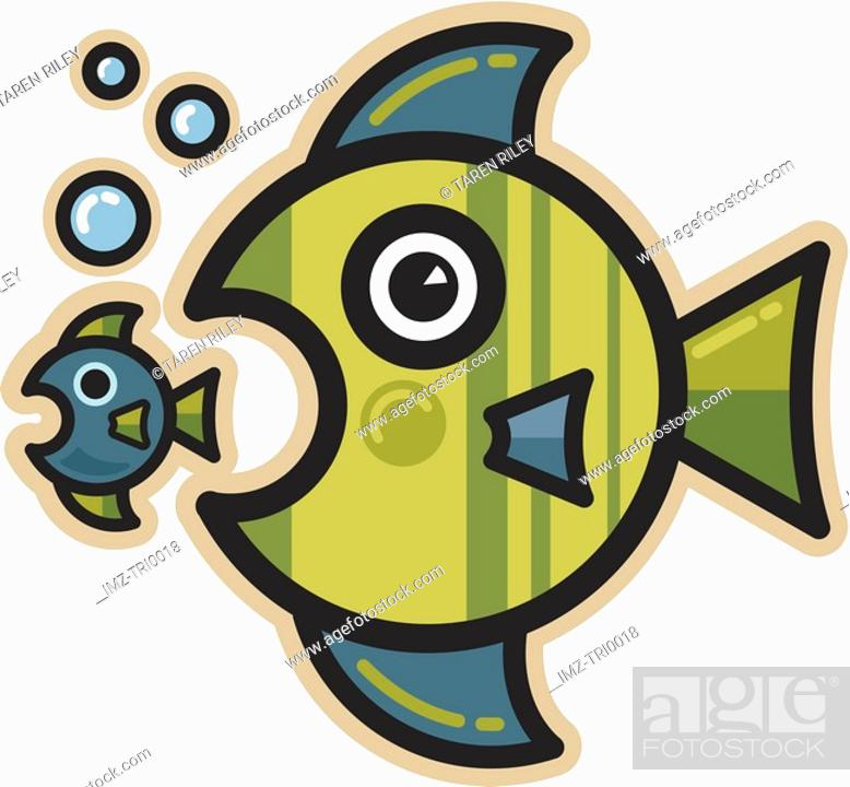 Stock Photo: Big fish eating a little fish.