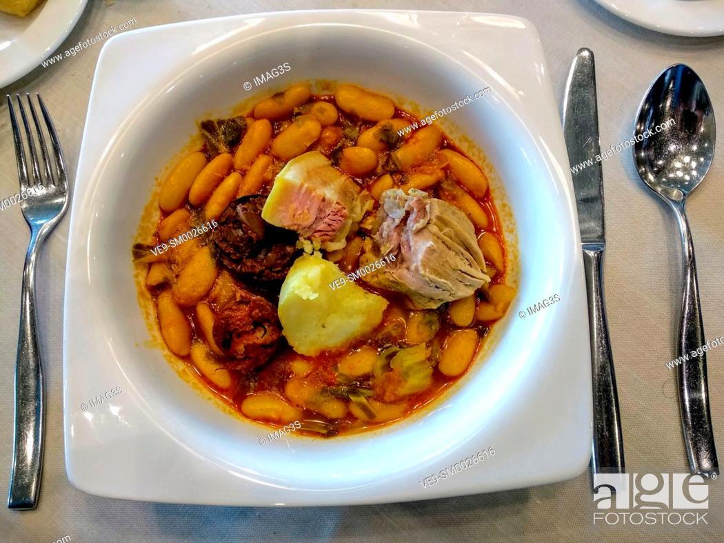 Stock Photo: 'Pote asturiano', beans, cabbage and sausage, typical meal in Asturias. Torazo, Cabranes municipality, Asturias, Spain.