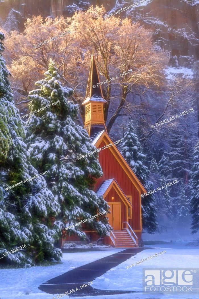 Stock Photo: Early morning at the Yosemite Chapel following a spring snow.