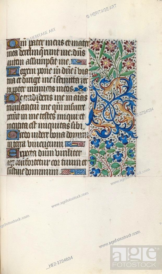 Stock Photo: Book of Hours (Use of Rouen): fol. 122r, c. 1470. Creator: Master of the Geneva Latini (French, active Rouen, 1460-80).