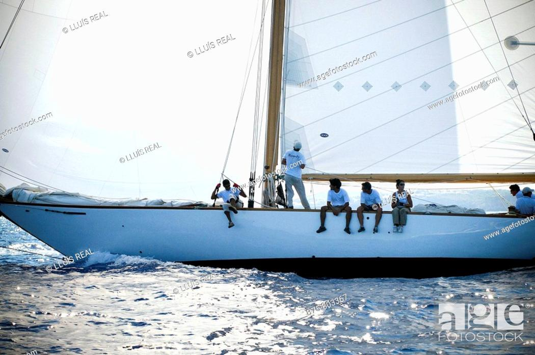 Stock Photo: Vintage yachts, boat race, Minorca, Balearic Islands, Spain.