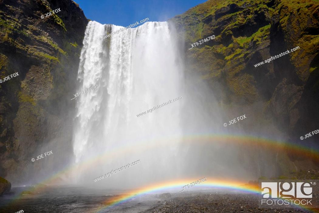 Stock Photo: double rainbow at skogafoss waterfall in iceland.