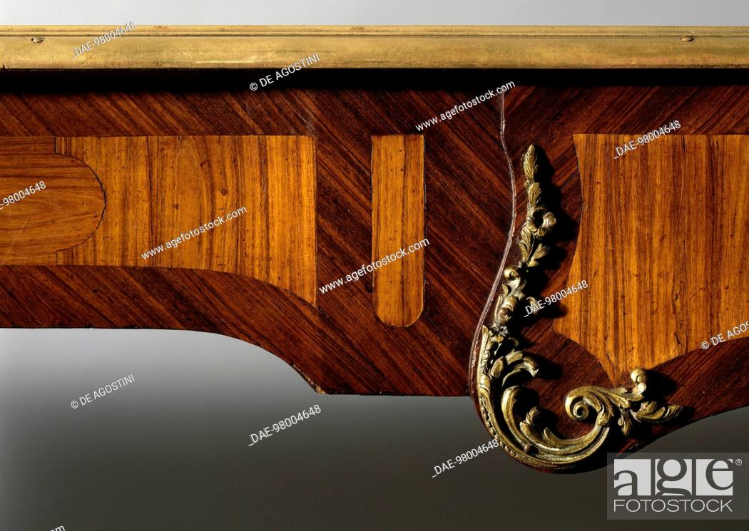 Stock Photo: Second Empire (Napoleon III) tulipwood and kingwood writing desk. France, second half 19th century. Detail.  Private Collection.