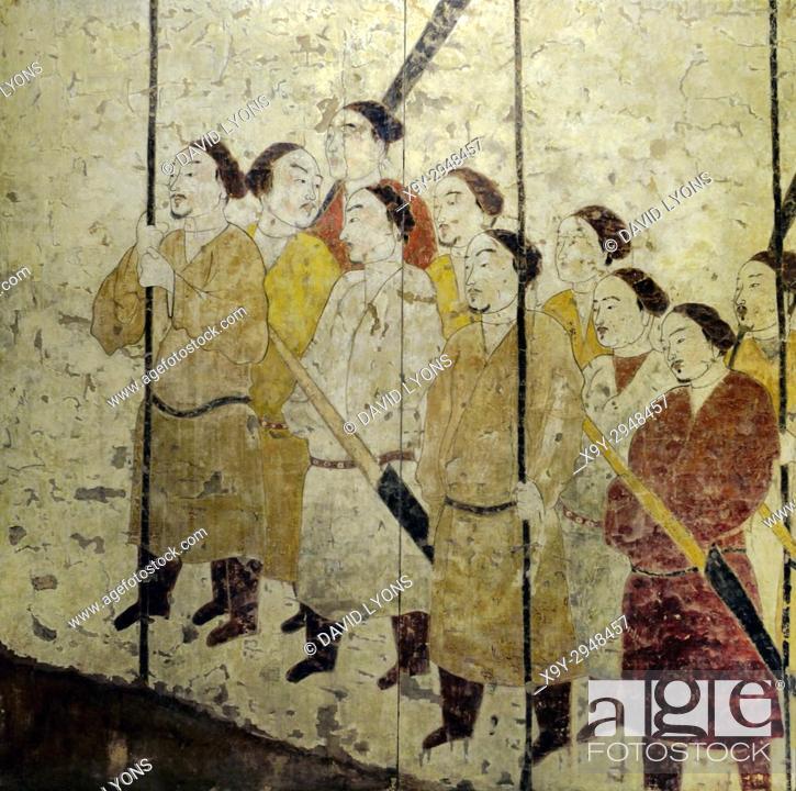 Stock Photo: Ancient mural painting of the Honour Guard. Detail. Northern Qi Dynasty. From the Tomb of Xu Xianxiu at Wangjiafeng, Taiyuan City, Shanxi, China.