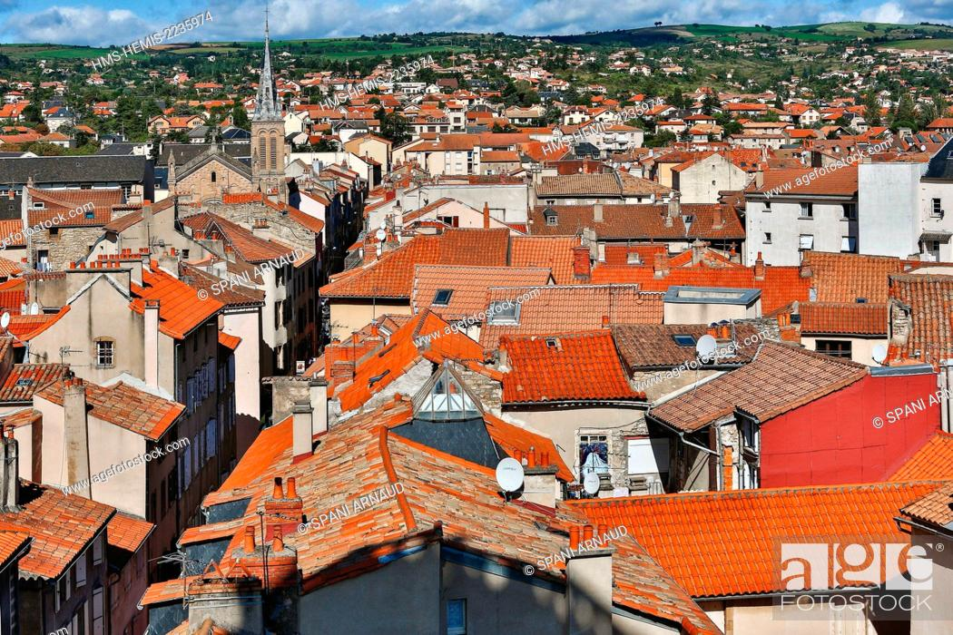 Stock Photo: France, Aveyron, Parc Naturel Regional des Grands Causses (Natural regional park of Grands Causses), Millau, cityscape, architecture, roofs of Millau View.