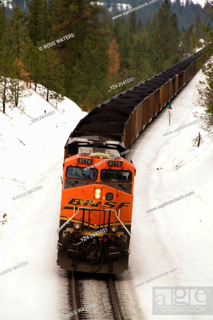 Stock Photo: BNSF coal train at Overlook, Spokane, Washington, USA.