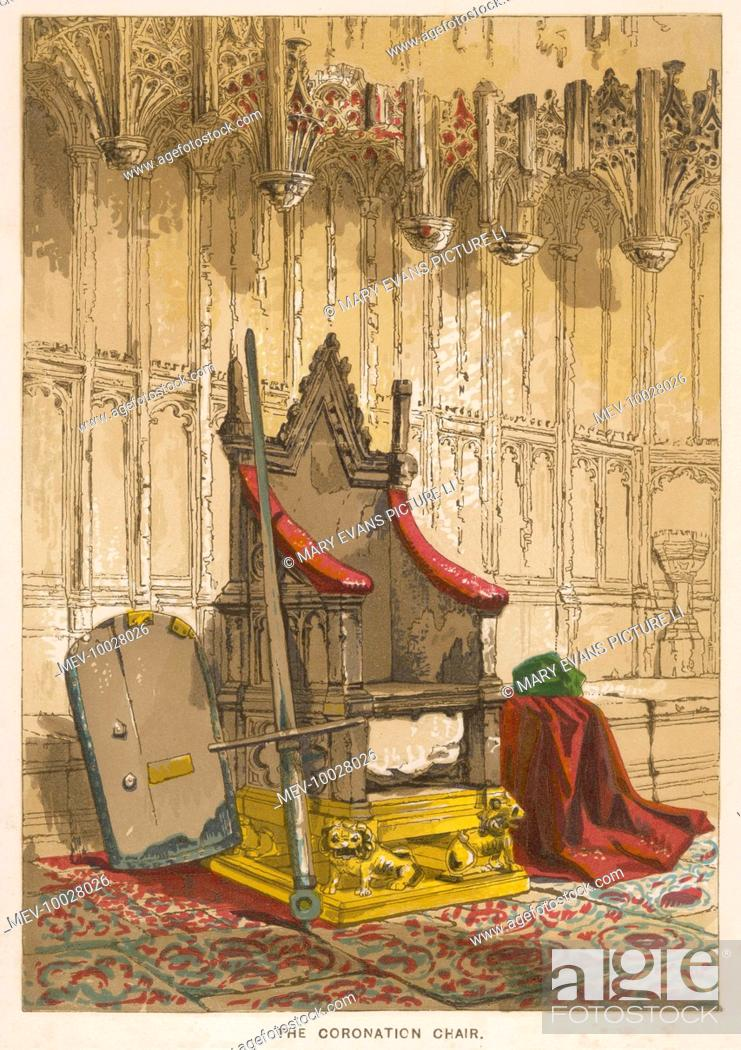Stock Photo - The Stone of Scone in its former position beneath the Coronation Chair in Westminster Abbey London ; it has subsequently been returned to ... & The Stone of Scone in its former position beneath the Coronation ...