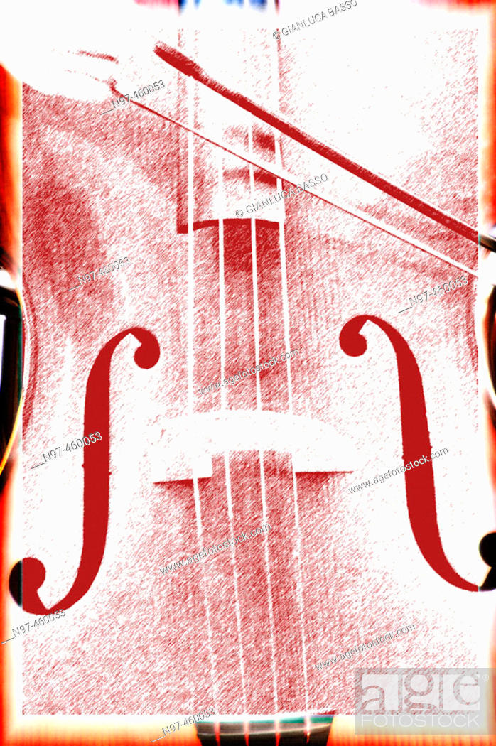 Stock Photo: A graphic elaboration of a violoncello played by a street artist.