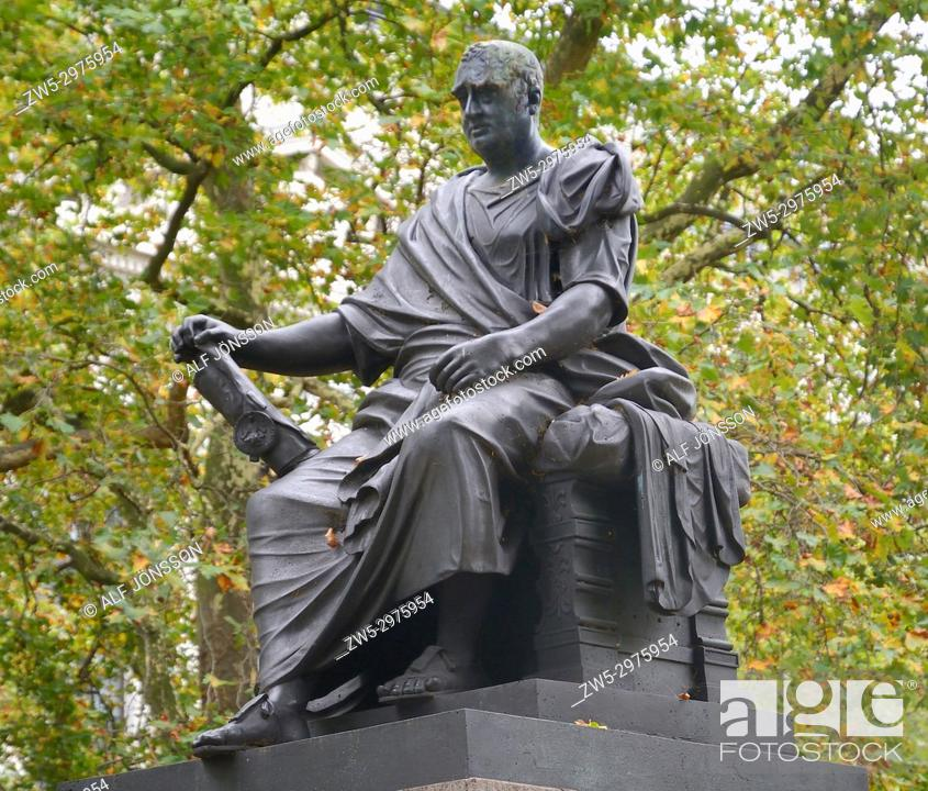 Stock Photo: Statue of the British statesman Charles James Fox in Russell Square, Bloomsbury, London, UK.