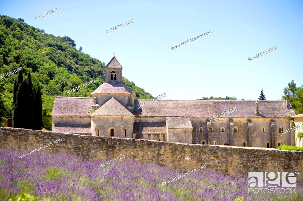 Stock Photo: Abbaye de Senanque in Gordes, Provence-Alpes-Cote d'Azur, France.
