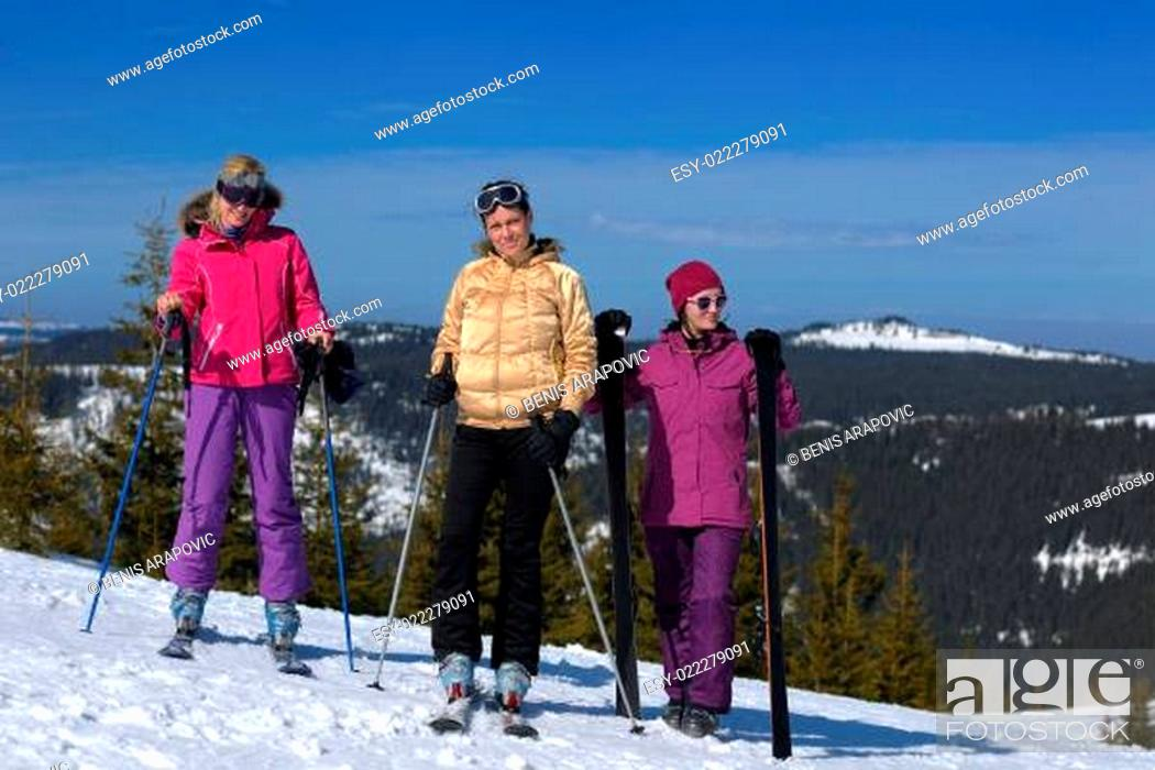 Stock Photo: winter season fun with group of girls.