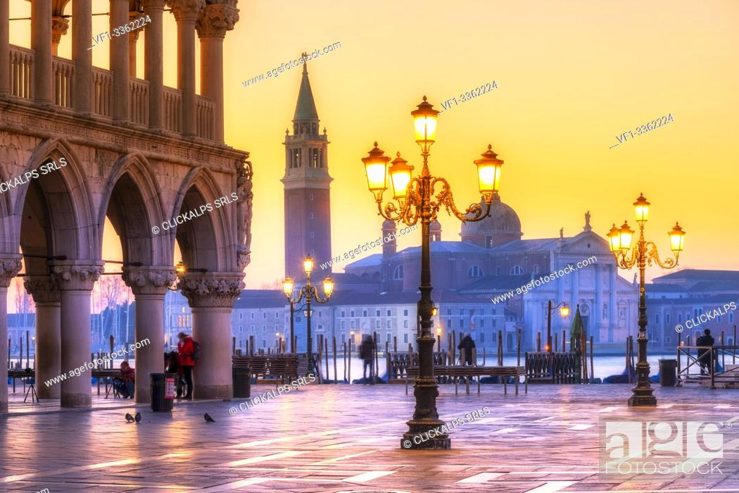 Stock Photo: San Marco square in winter at sunrise. Europe, Italy, Veneto, Venice.
