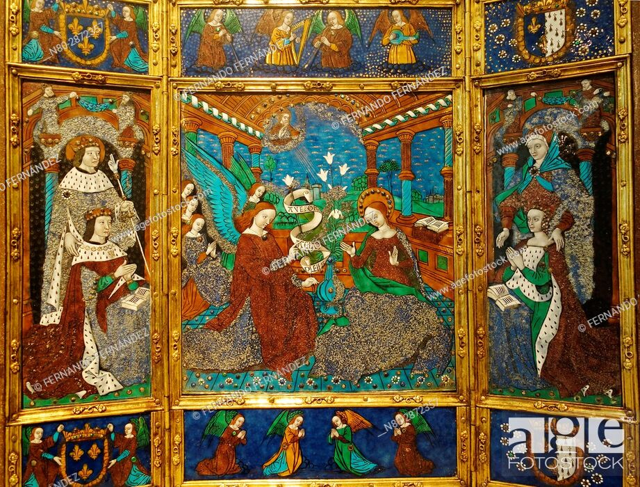 Stock Photo: Portable Altarpiece. Master of the Louis XII Triptych. Painted enamel on Copper. France, Limoges. 1498-1514. The Victoria and Albert Museum. London.
