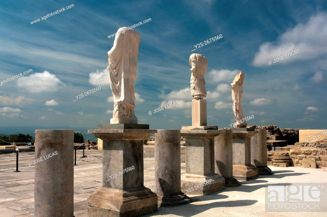 Stock Photo: Torreparedones, Iberian-roman archaeological park, Statues in the Forum-1st century, Baena, Cordoba province, region of Andalusia, Spain, Europe.