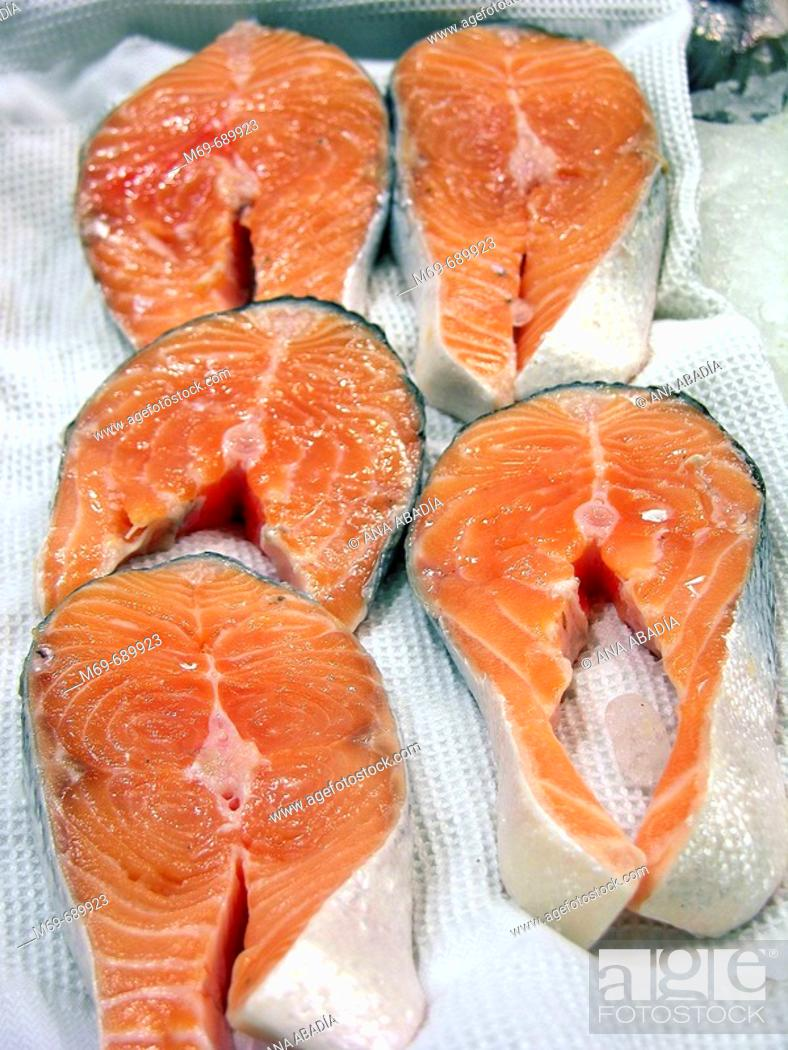 Stock Photo: Salmon for sale.