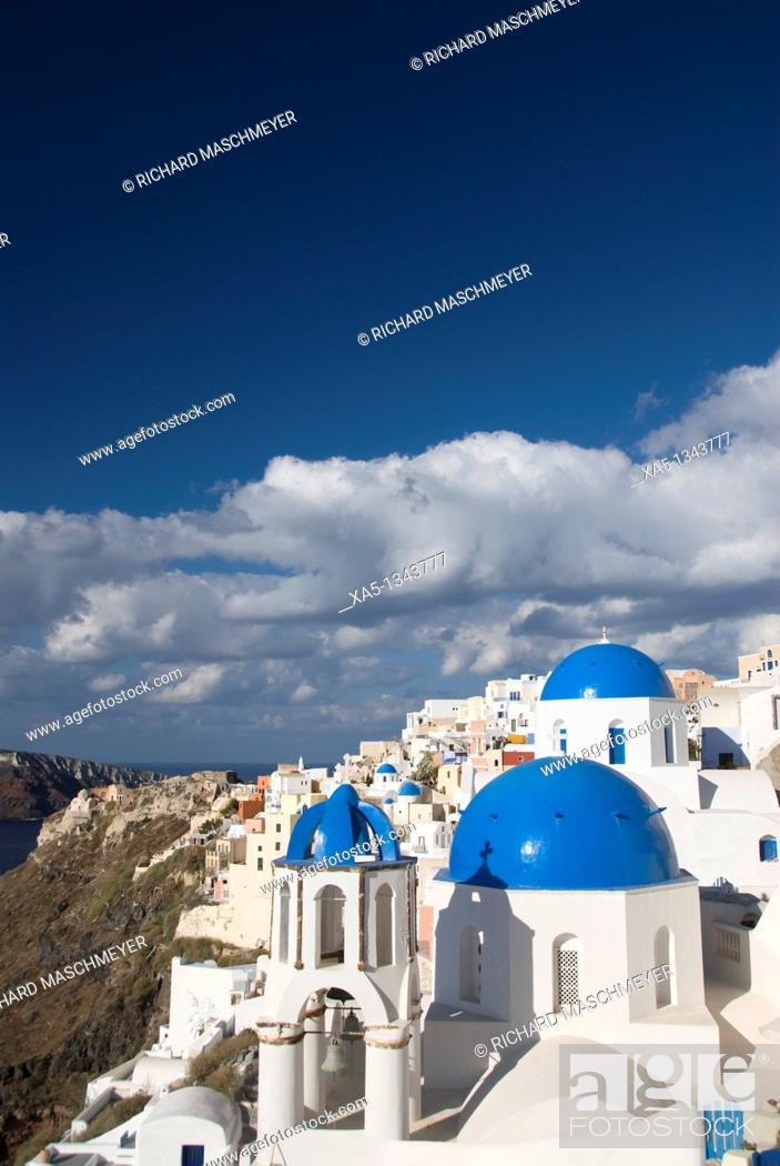 Stock Photo: Greek Othodox Church with bell tower, Oia, Santorini, Greece.