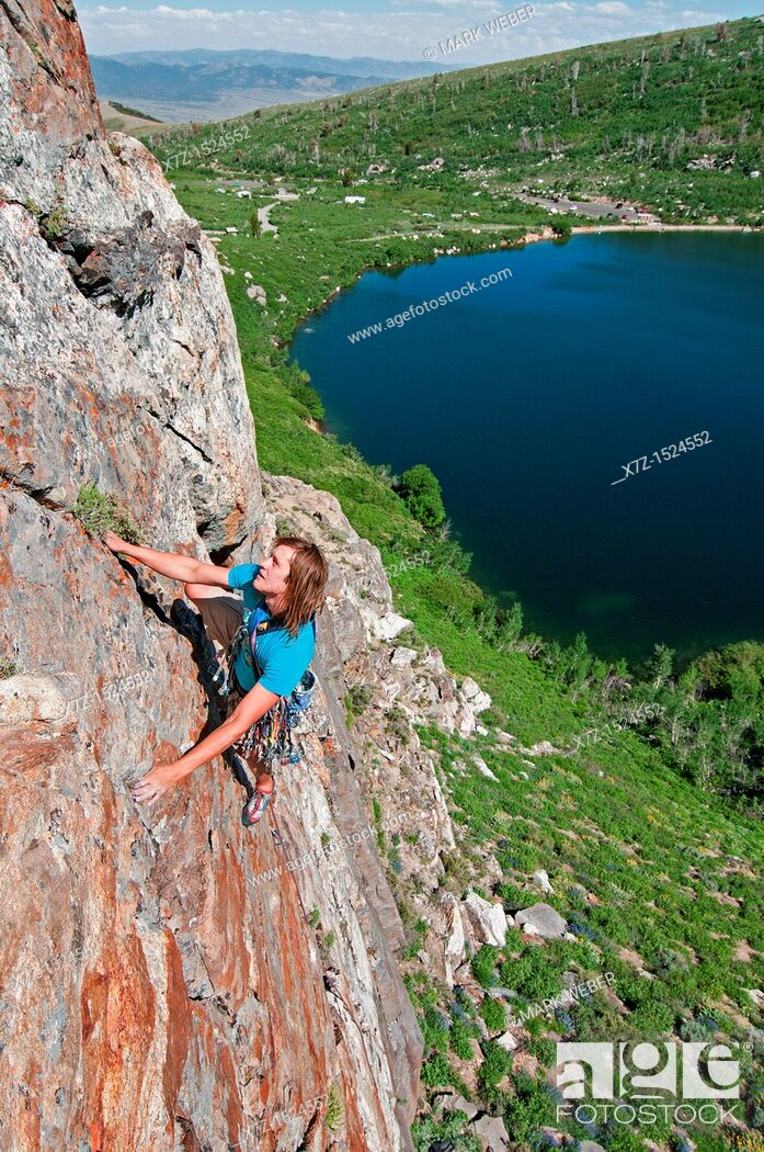 Stock Photo: Rock climbing a route called Angel Toes which is rated 5,10 and located on The Angel Lake Crag above Angel Lake high in the East Humboldt Mountains of northern.