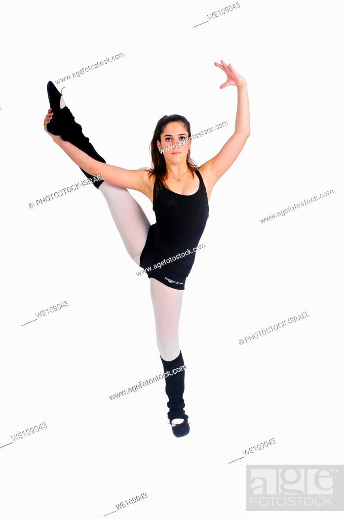Stock Photo: Female teen Ballet Dancer aged thirteen On white Background.