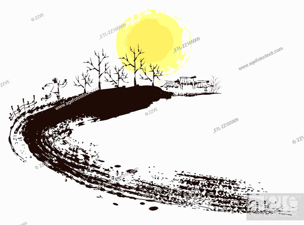 Stock Photo: Sketch of country side scene on white background.