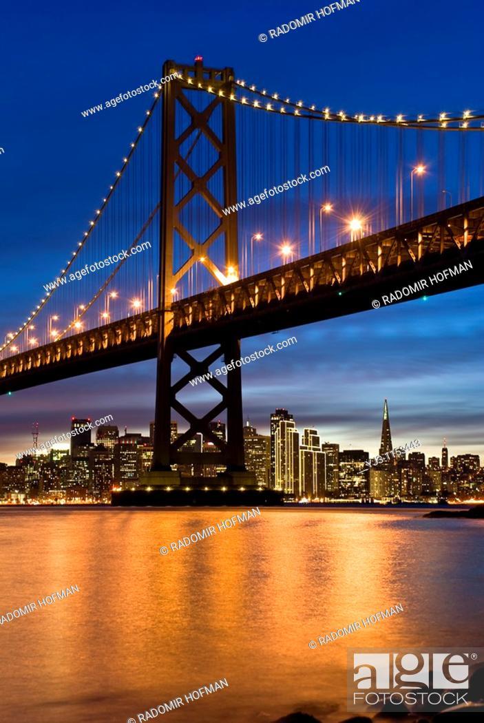 Stock Photo: Bay Bridge and San Francisco at night, California, USA.