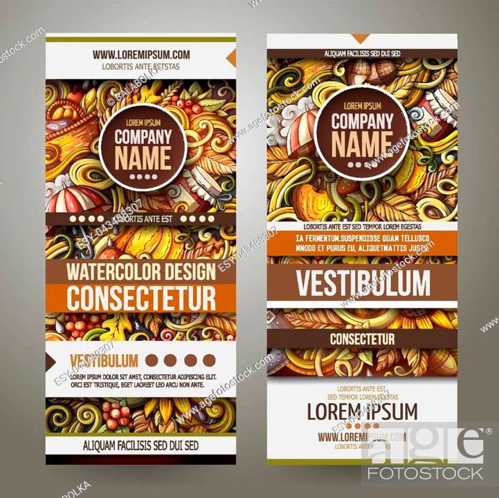 Stock Vector: Cartoon cute colorful vector hand drawn doodles Fall season corporate identity. 2 vertical Autumn banners design. Templates set.