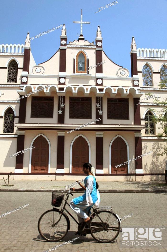 Stock Photo: India, Puducherry, Pondicherry, St Louis de Gonzague Convent.