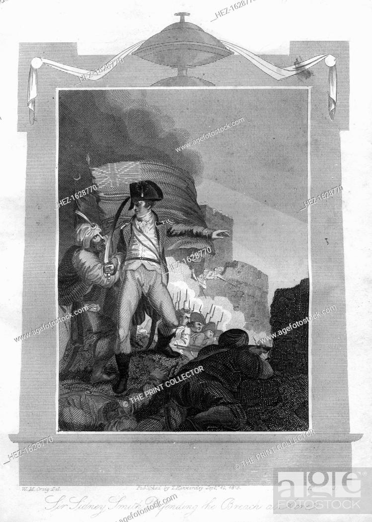 Stock Photo: Sir Sydney Smith (1764-1840) defending the breach at Acre, 1816. Smith was the English admiral of whom Napoleon Bonaparte said, That man made me miss my destiny.
