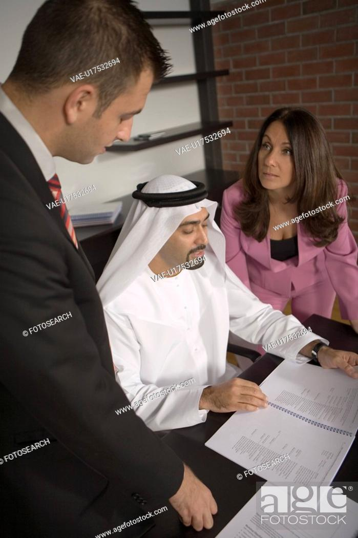 Stock Photo: office, business, meeting, businessmen, businessman, Arabic.