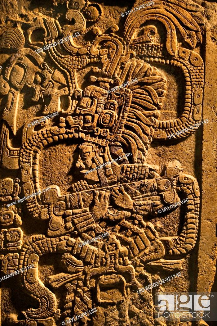 Stock Photo: Bas relief of Mayan Royalty in the new de Young Museum, built by architects Herzog and de Meuron - San Francisco, California.