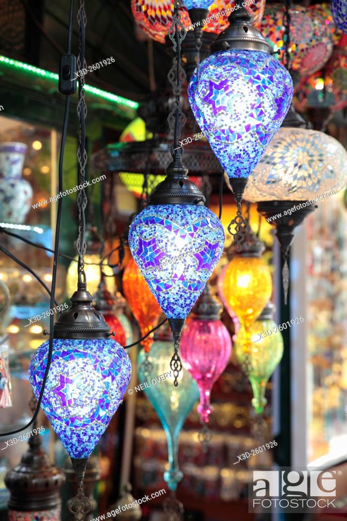 Stock Photo: Colorful Hanging Turkish Ceramic Lamps Sourvenirs in Istanbul, Turkey.
