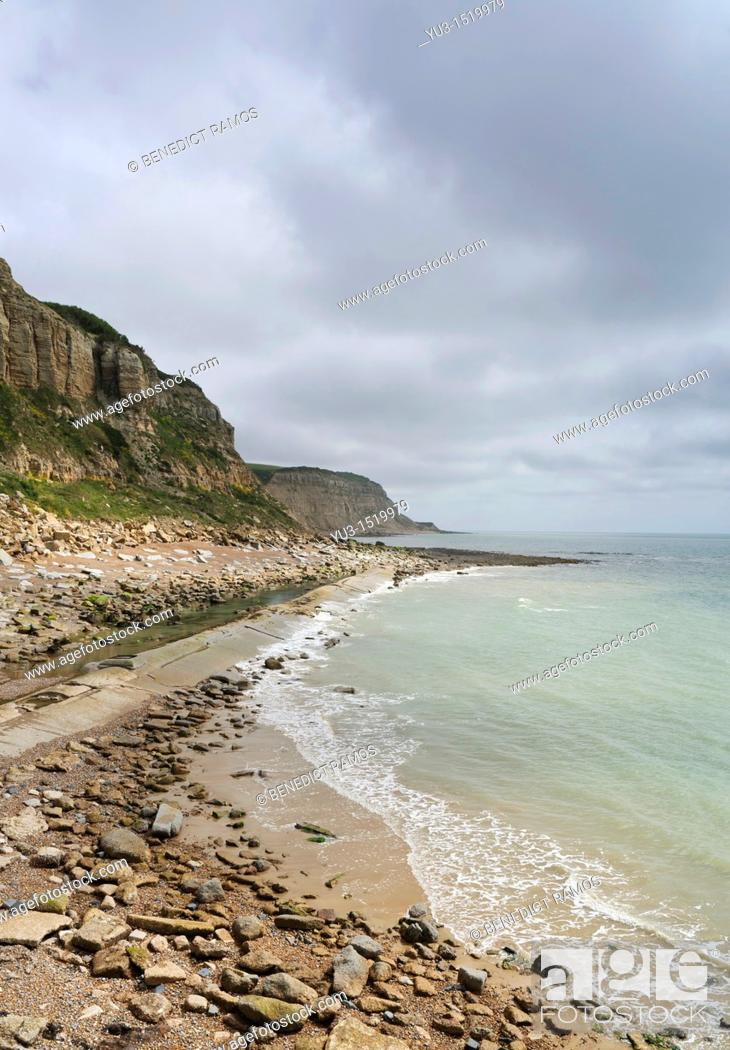 Stock Photo: South coast of England near Hastings, East Sussex, England, UK.