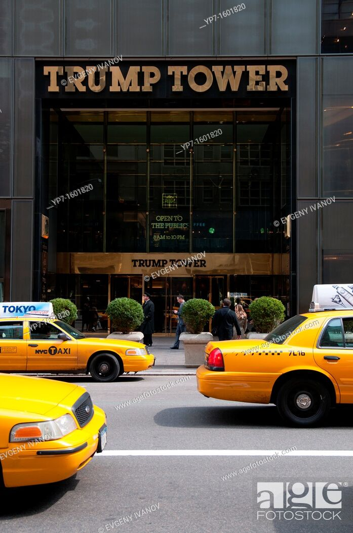 Stock Photo: The doors and facade of the Trump Tower on 5th Ave on Manhattan Yellow taxis near the Trump Tower.