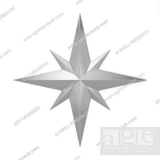 Imagen: Compass rose symbol. 3d illustration isolated on white background.