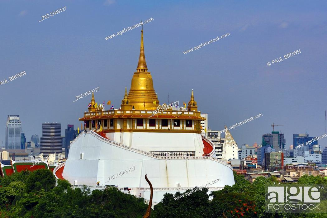 Stock Photo: Golden Mount, Wat Saket Temple, Bangkok, Thailand.