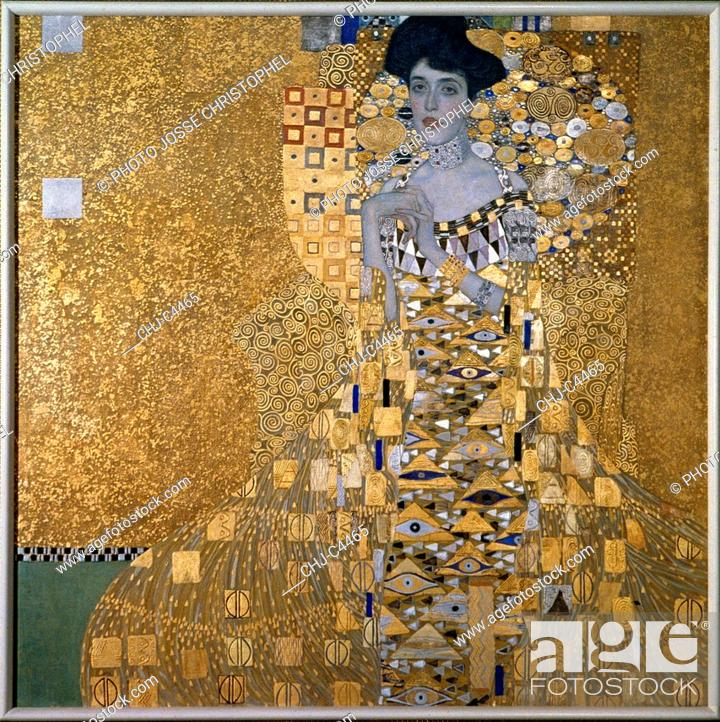 Imagen: C4465 , Gustav Klimt (1862-1918), Austrian School. Portrait Of Adele Bloch-Bauer. 1907. Oil and gold on canvas, 1.38 x 1.38 m.
