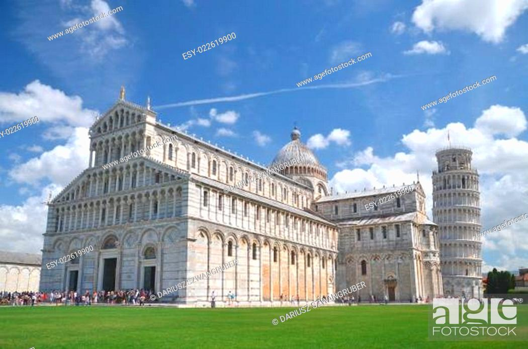 Stock Photo: The Leaning Tower on Square of Miracles in Pisa, Tuscany in Italy.