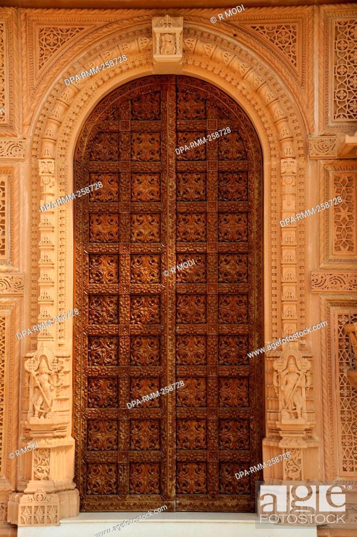 Stock Photo - carving doors of swaminarayan temple gujarat  India Asia & carving doors of swaminarayan temple gujarat  India Asia Stock ...