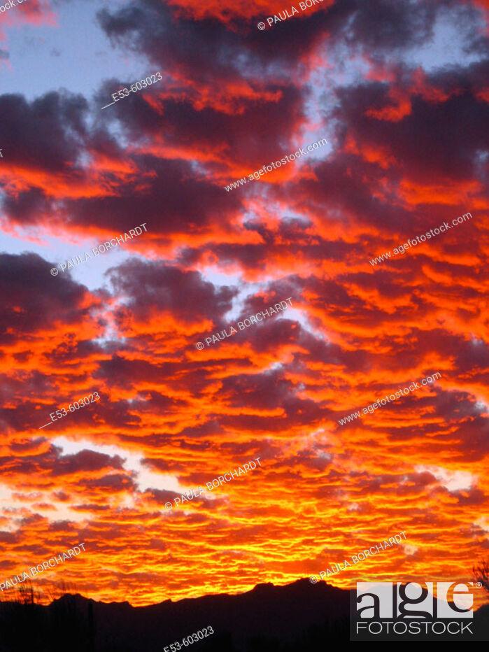 Stock Photo: Sunset over the Tucson Mountains, Tucson, Arizona, USA.