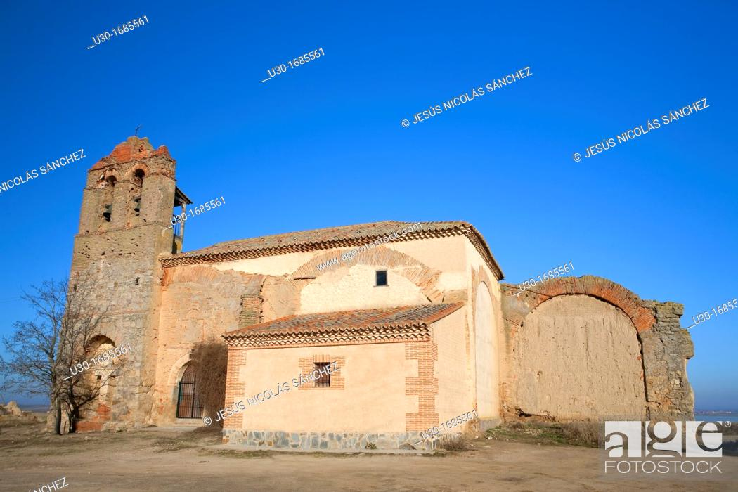 Stock Photo: Old church in Otero de Sariegos  Villafáfila Lagoons Natural Reserve  Villafáfila  Zamora  Castilla y León  Spain.
