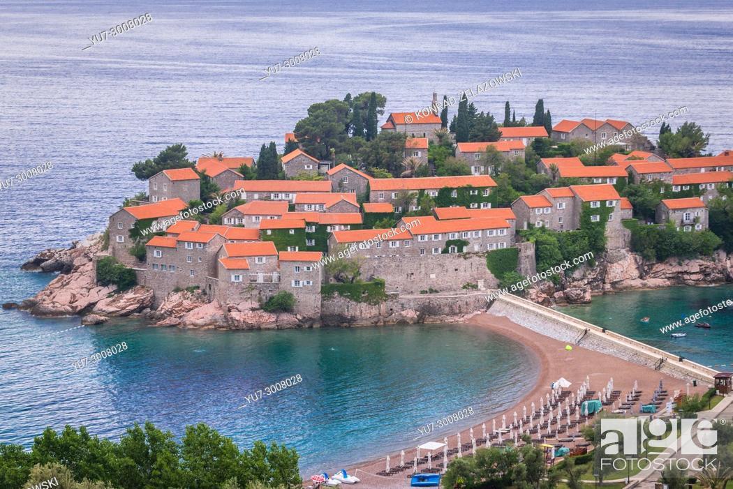 Stock Photo: Sveti Stefan islet and five star Aman Sveti Stefan hotel resort on the Adriatic coast of Montenegro.