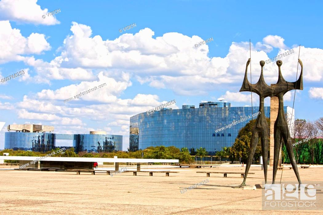 Stock Photo: Square of the Three Powers with their Os Candangos statue in brasila capital city of brazil.