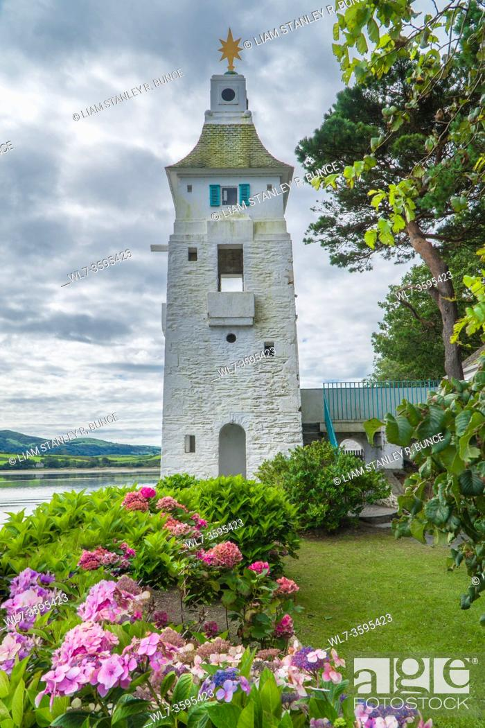 Stock Photo: Lighthouse Portmeirion Italianate village, Gwynedd, North Wales UK. August 2020.