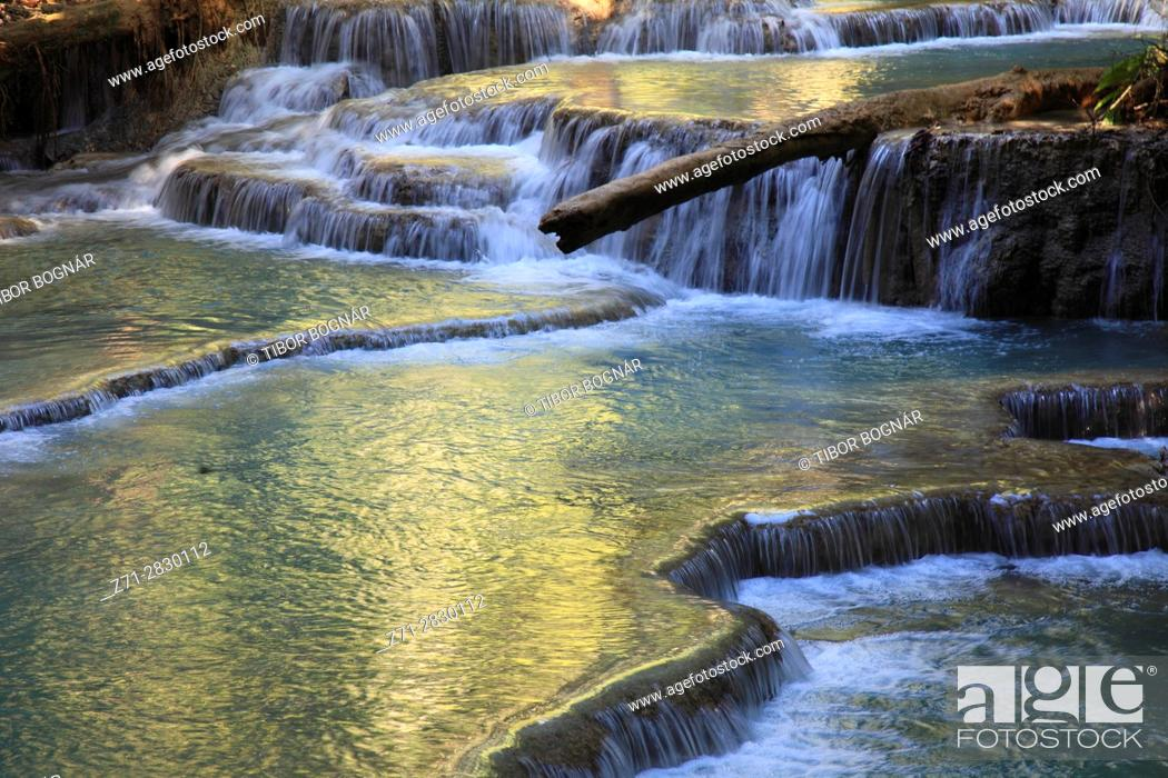 Stock Photo: Laos, Luang Prabang, Kuang Si waterfalls,.