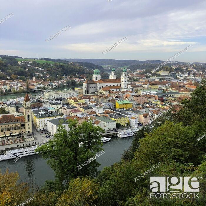 Stock Photo: View from Veste Oberhaus is a fortress that was founded in 1219 and, for most of its time, served as the stronghold of the Bishop of Passau, Germany.