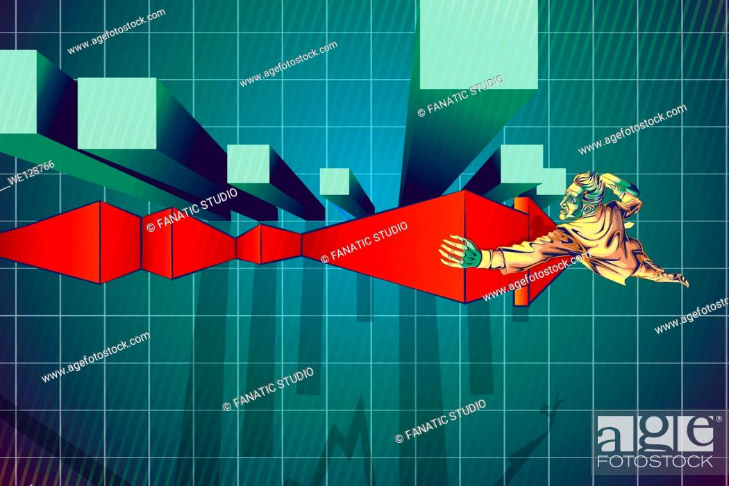 Stock Vector: Illustration of businessman climbing arrow sign by bar graph representing recovery of loss.