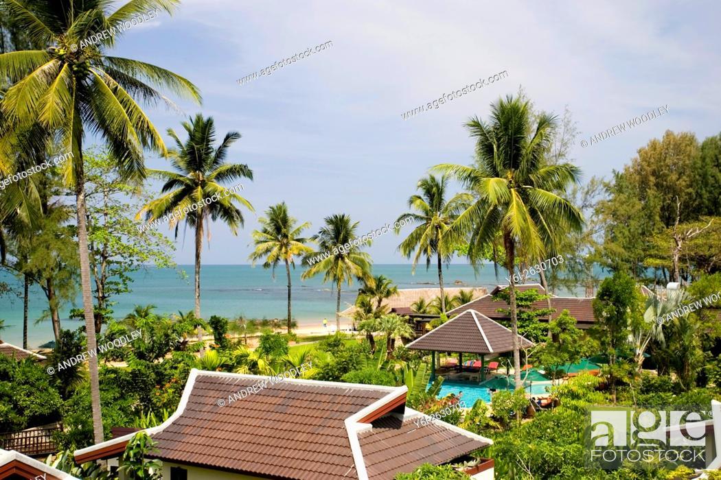 Stock Photo: Nang Thong Bay Resort rebuilt after 2004 tsunami Khao Lak Thailand.