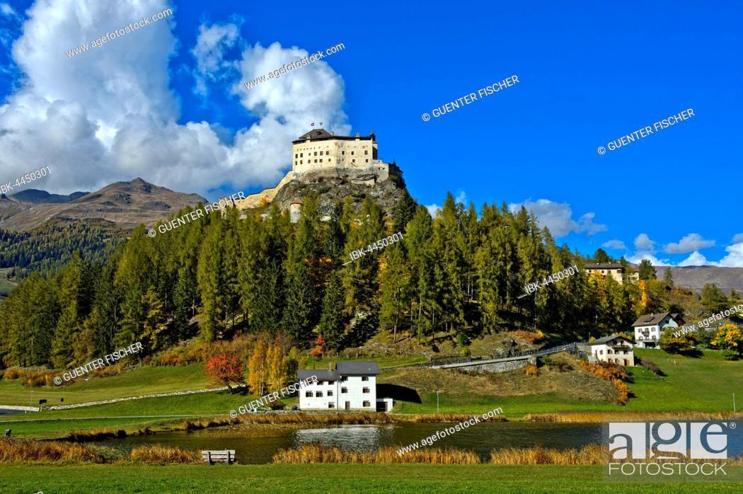 Stock Photo: Tarasp Castle above the Lai da Tarasp, Scuol, Lower Engadine, Grisons, Switzerland.
