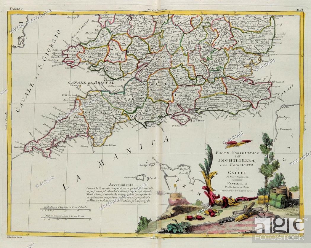 Imagen: The southern part of England and of the Principate of Wales, engraving by G. Zuliani taken from Tome I of the Newest Atlas published in Venice in 1778 by.