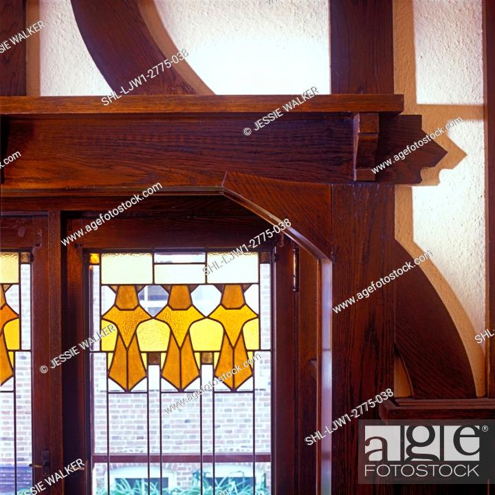 Stock Photo Stained Gl Windows Detail And Leaded Window In Arts Crafts Home 1905 Clear With Amber Yellow Geometric Design